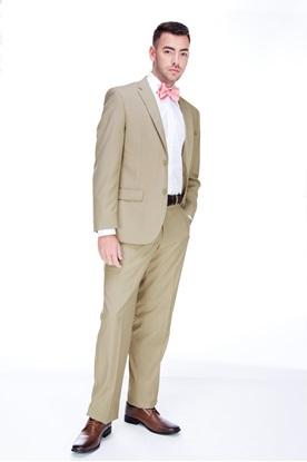 tan suit, pink tie