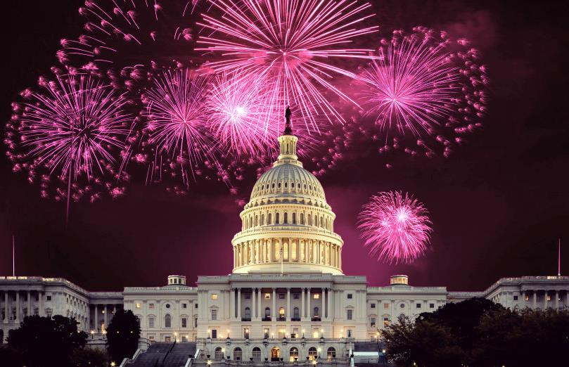 pink Fireworks over Capital