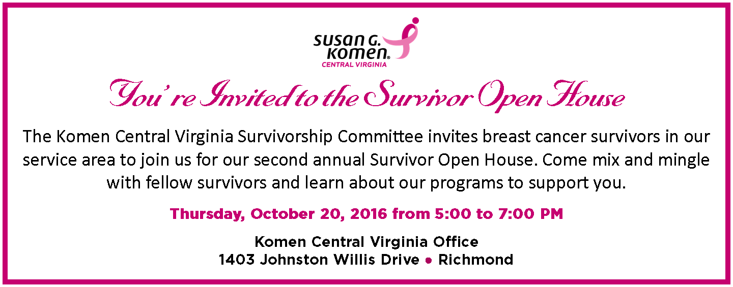 2016 Survivor Open House banner